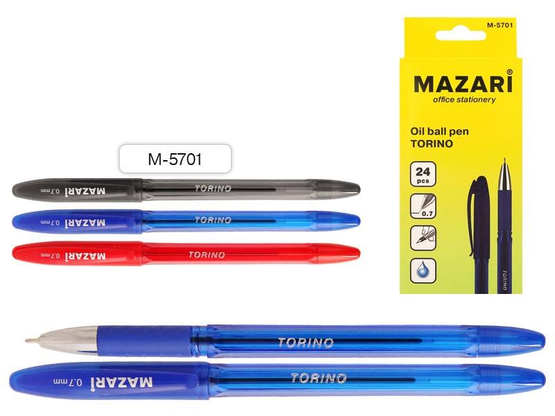 Ручка шариковая СИНЯЯ,чернила на масляной основе (Индия), игольчатый пиш.узел 0.7мм (Индия), корпус пластиковый цветной,  с резиновым грипом, арт М-5701-70