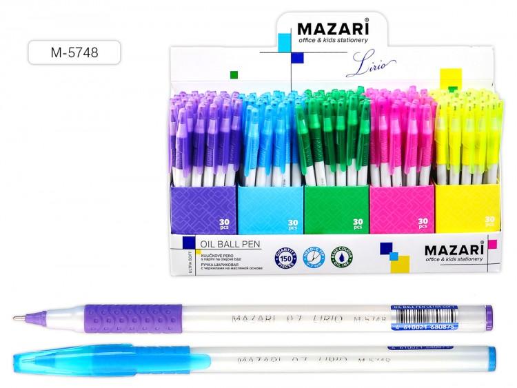 Ручка шариковая СИНЯЯ,чернила на масляной основе, игольчатый пиш.узел 0.7 мм, корпус пластиковый белый, с резиновым грипом,арт M-5748